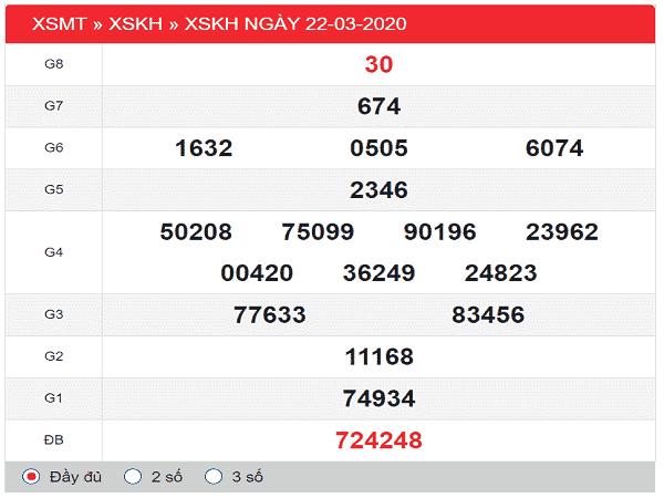 Soi cầu KQXSKH ngày 29/03/2020 tỷ lệ trúng cao