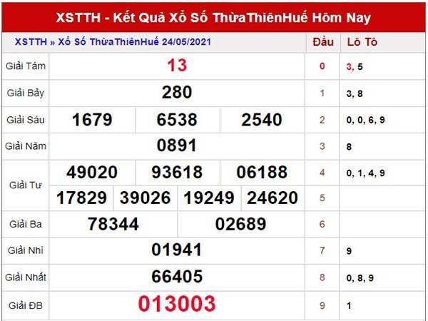 Soi cầu xổ số Thừa Thiên Huế thứ 2 ngày 31/5/2021